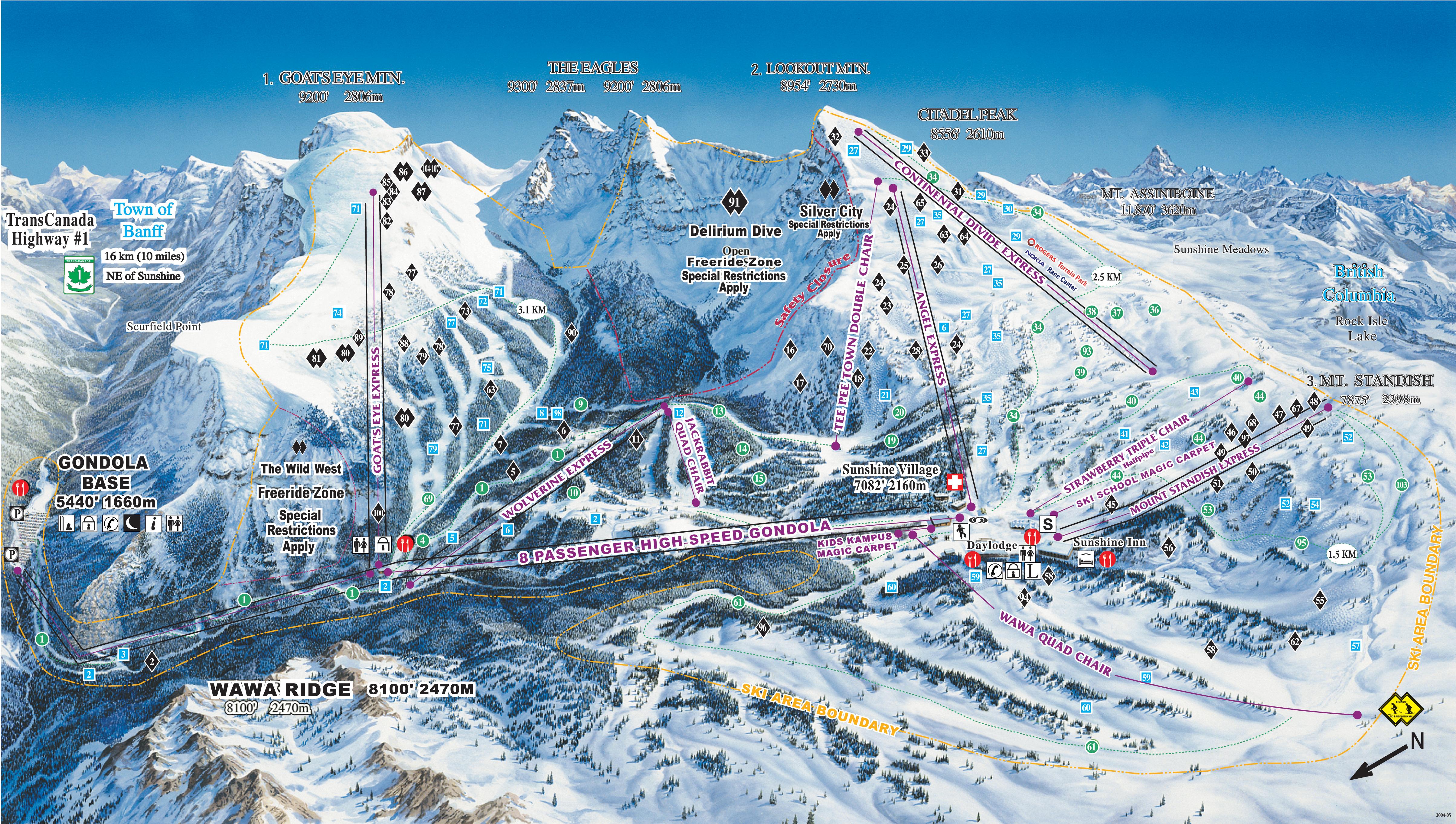 Banff/Lake Louise/Sunshine Trail Map/Webcams