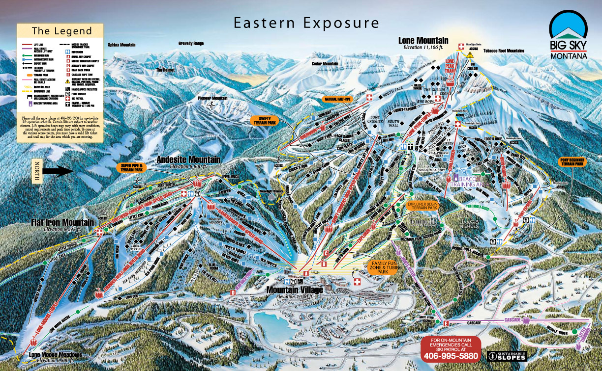 Big Sky MT Trail MapWebcams - Western us ski resorts map