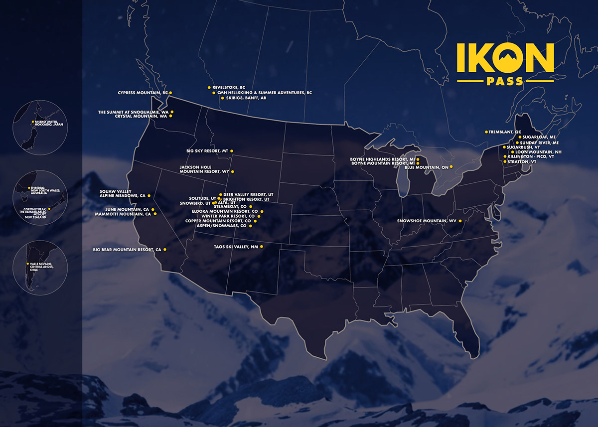Map of Ikon Pass Destinations